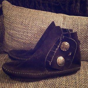 Black leather moccasins